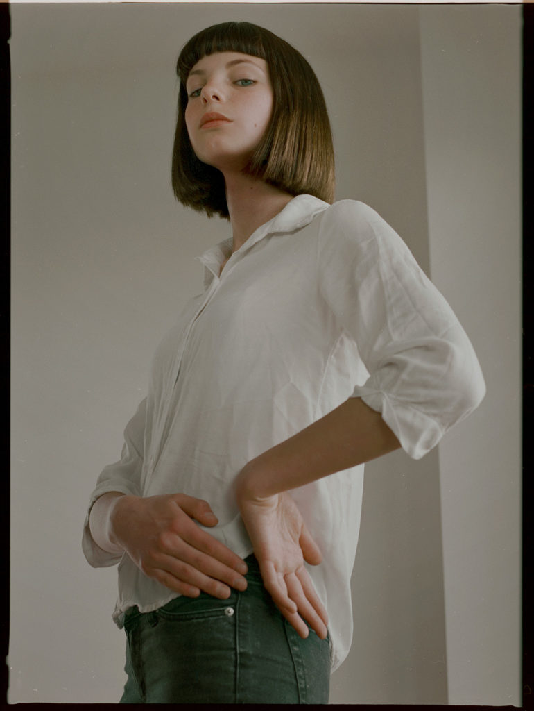 white shirt, studio