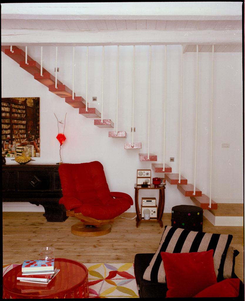 stairs design, red, wood, Kodak